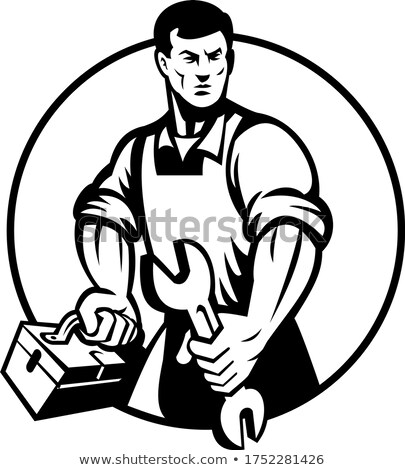 Automotive Mechanic Holding Spanner and Toolbox Circle Retro Black and White Stock photo © patrimonio