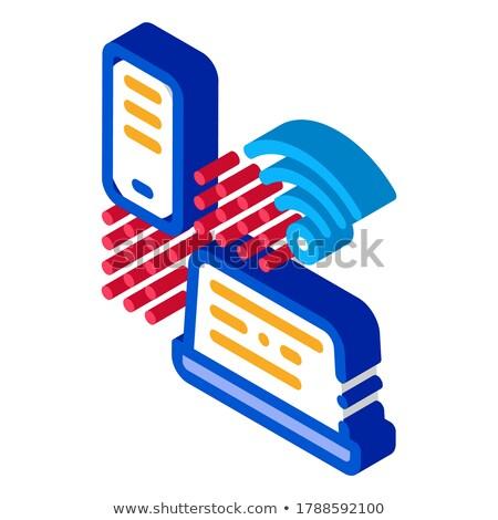 Wifi ağ izometrik ikon vektör imzalamak Stok fotoğraf © pikepicture