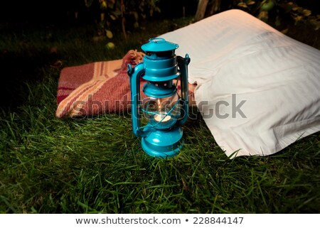 Blanket and pillows on grass Stock photo © jsnover