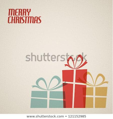 Stilizált karácsony ajándék doboz fehér hópelyhek Stock fotó © orson