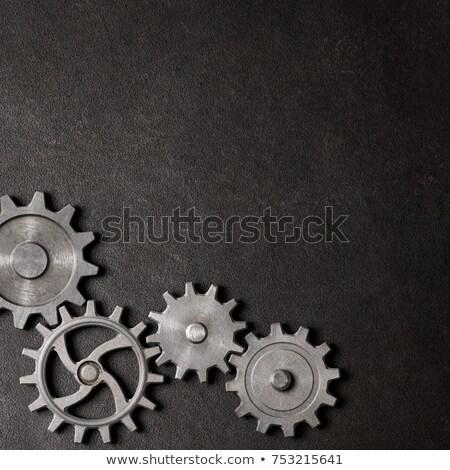 3D noir Cog icône blanche technologie Photo stock © cidepix