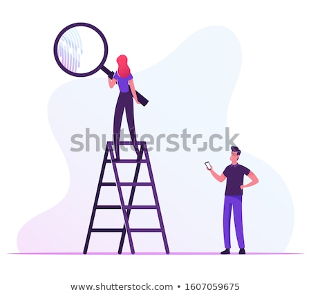 man looks through magnifier stock photo © paha_l