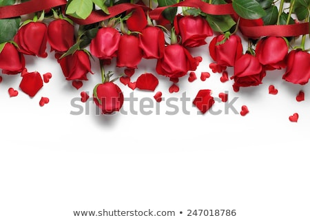 kırmızı · gül · kalp · eski · ahşap · dizayn · güzellik - stok fotoğraf © bogumil