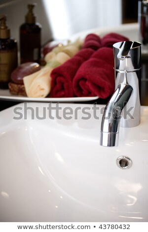 clean and modern washbasin with bathing supplies Stock photo © ampyang