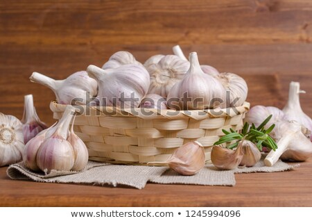 basket and garlics out of focus Stock photo © marylooo