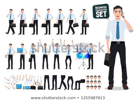Biznesmen teczki komórkowych biuro portret spaceru Zdjęcia stock © photography33