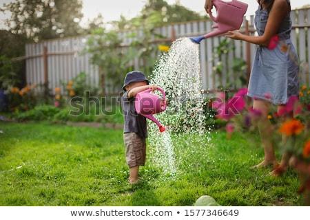 Anya fiú kertészkedés nő boldog haj Stock fotó © photography33