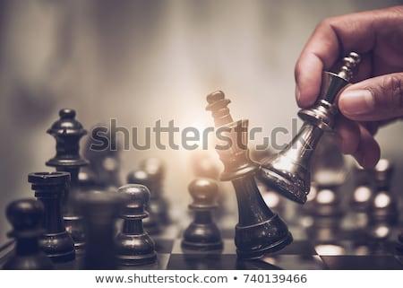 ajedrez · blanco · caballero · pie · negro - foto stock © vladacanon