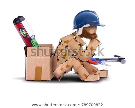 Builder Werkzeugkasten Denken Mann Technologie schriftlich Stock foto © photography33