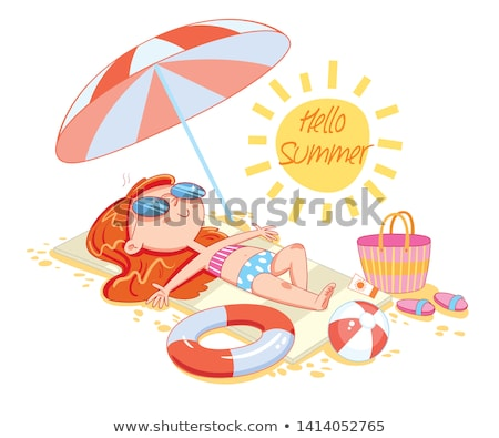 Ballon de plage fille séance heureux beauté costume Photo stock © keeweeboy