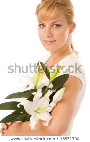 liliom · szőke · csinos · hölgy · fehér · nő - stock fotó © dolgachov
