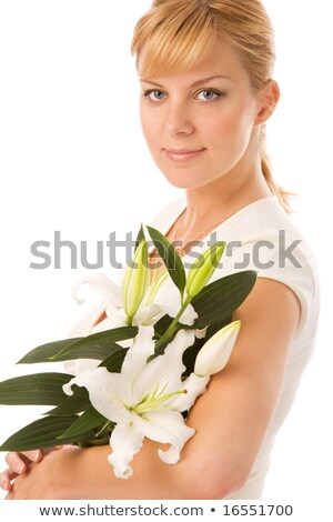 Lily rubio bastante dama blanco mujer Foto stock © dolgachov