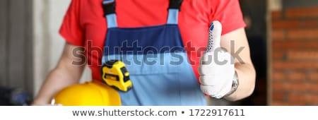 Murarz budynku szczęśliwy tle pracownika Zdjęcia stock © photography33