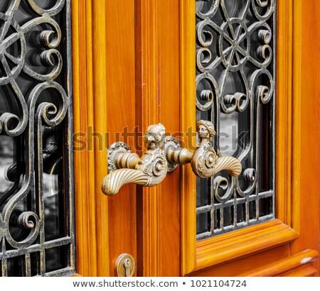 ősi vasaló ajtó réz ajtóküszöb ház Stock fotó © bbbar