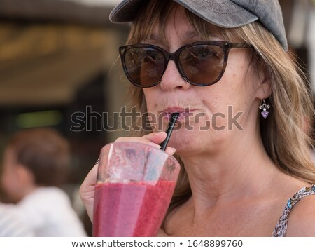 Lips sip Smoothie Stock photo © cboswell