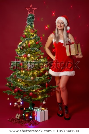 Girl in a Santa costume bearing gifts Stock photo © photography33