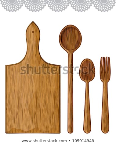Set from wooden kitchen devices isolated on the white Stock photo © ozaiachin