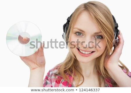 Bájos nő tart cd áll fehér Stock fotó © wavebreak_media