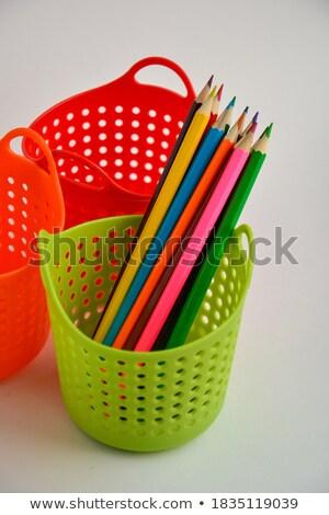 mum · boya · kalemtıraş · kâğıt · kalem · arka · plan · mavi - stok fotoğraf © rogerashford