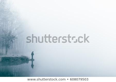 mannen · silhouet · mist · persoon · lopen · mistig - stockfoto © mikko