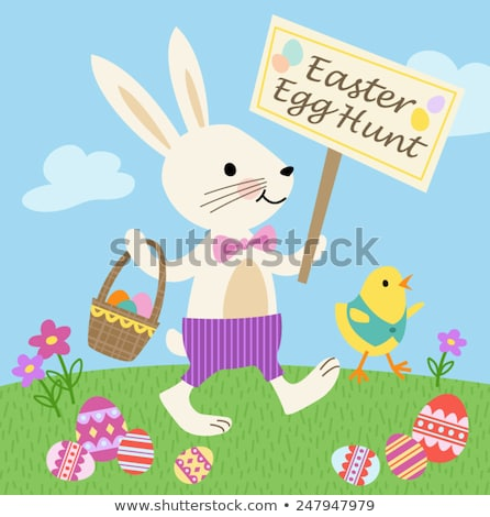 Stock photo: Easter Eggs Basket - Cartoon Character - Vector Illustration
