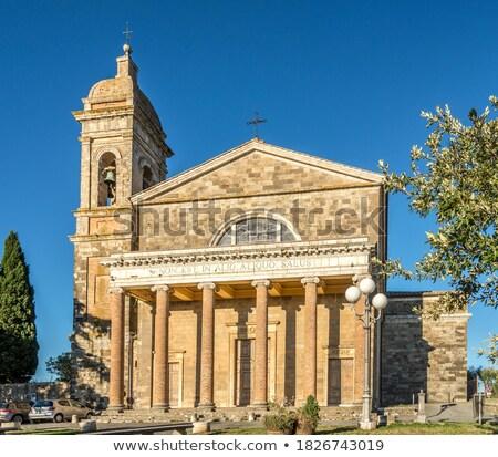 Toszkána kilátás város kastély Olaszország bor Stock fotó © Bertl123