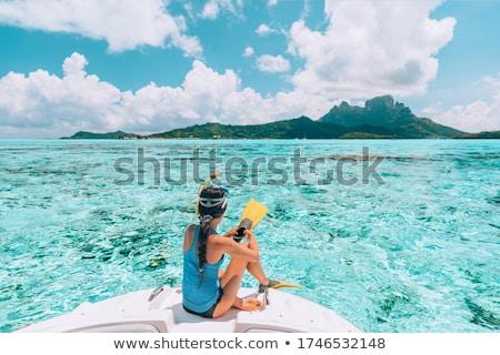Stock fotó: Lány · snorkeling · női · tenger · felfedez · szépség