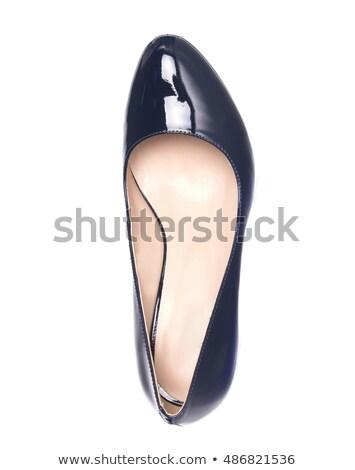 черный патент кожа обувь изолированный белый Сток-фото © alekleks