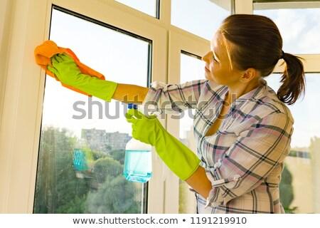 Portret piękna pokojówka rękawice gumowe młodych biały Zdjęcia stock © wavebreak_media