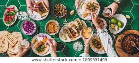 Mexikói étel nachos salsa mártás étel étterem Stock fotó © tannjuska