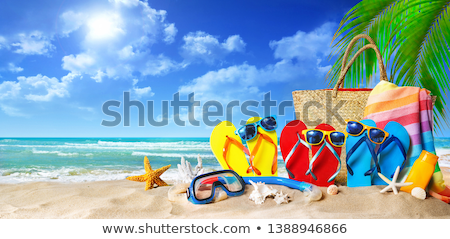 sunbathing accessories in straw bag stock photo © neirfy