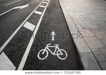 Bisiklet bisiklet şehir ağaçlar imzalamak Stok fotoğraf © Lekchangply
