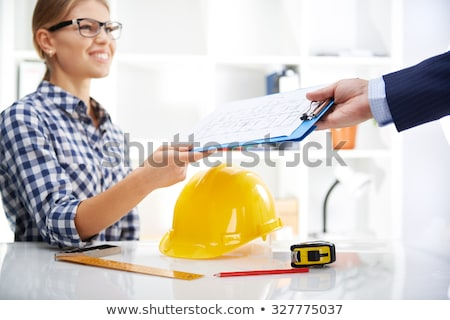 fiatal · női · építész · mérnök · építőmunkás · visel - stock fotó © Maridav