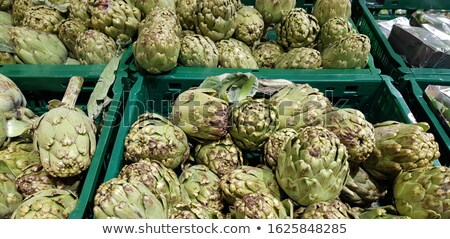 fresh green artichokes macro closeup on market outdoor Stock photo © juniart