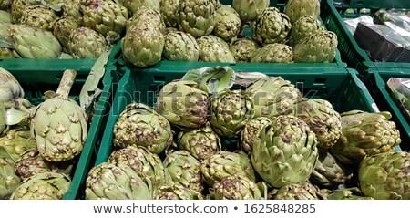 fresh green artichokes macro closeup on market outdoor stock photo © juniart
