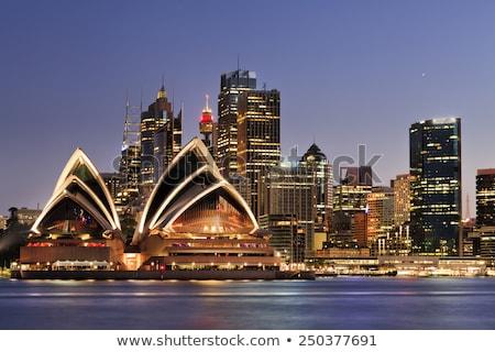 Sydney · porto · ponte · Sydney · Opera · House · pôr · do · sol · linha · do · horizonte - foto stock © angusgrafico