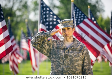 Portrait of a patriotic soldier saluting Stock photo © stockyimages