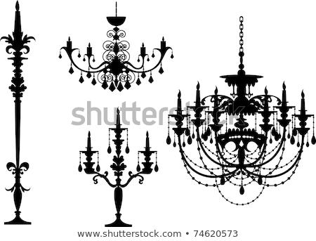 Czarny żyrandol sylwetka świece miejsce tekst Zdjęcia stock © mcherevan