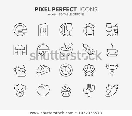 bestek · plaat · iconen · icon · illustraties · vork - stockfoto © matt_post