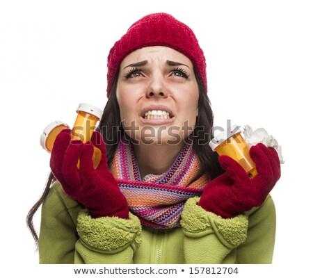 malade · métis · femme · vide · médecine · bouteilles - photo stock © feverpitch