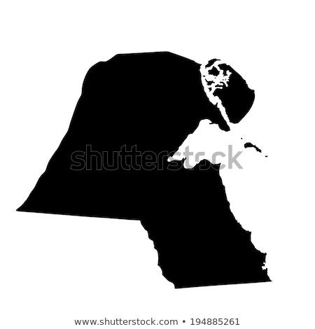 Zwarte Koeweit kaart administratief stad witte Stockfoto © Volina