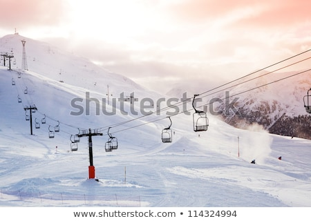Ski slope with ropeway at sunny winter day Stock photo © BSANI