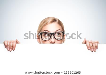 signo · personas · mujer · cartel · papel · anunciante - foto stock © nobilior