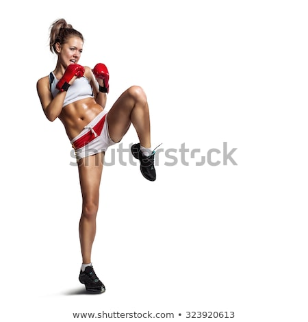 female mma fighter training white background stock photo © pxhidalgo