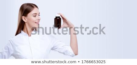 Volwassen witte geneeskunde pil hand Stockfoto © supersaiyan3
