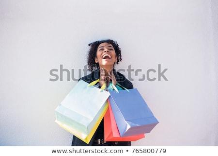 gyönyörű · mikulás · karácsony · lány · bevásárlótáskák · fehér - stock fotó © vlad_star
