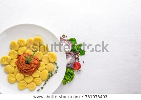 Pişmiş makarna et sebze beyaz Stok fotoğraf © Peredniankina