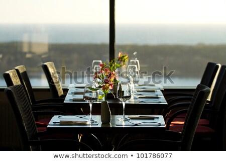 bruin · stoel · interieur · witte · muur · hout - stockfoto © vlad_star
