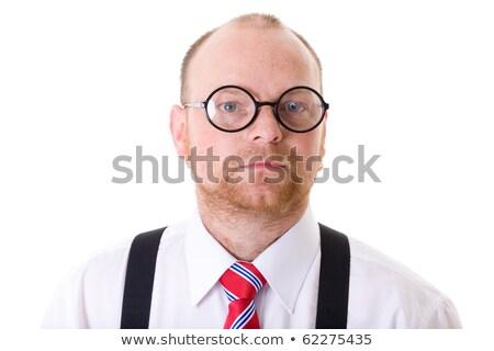 mature businessman, white shirt, red tie and specs, isolated Stock photo © miszaqq