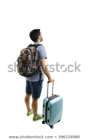 Young guy with travel case on white Stock photo © Elnur